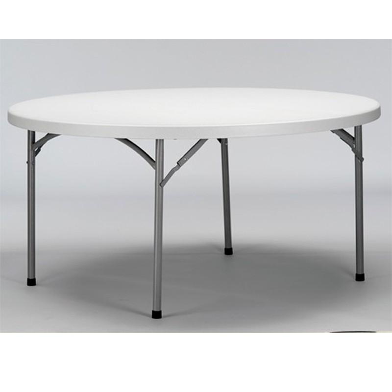 MESA VERDI PLEGABLE ESTR.ACERO PINTADO. TABLERO DE POLIETILENO C/GRIS CLARO Ø152.5x74.5cm