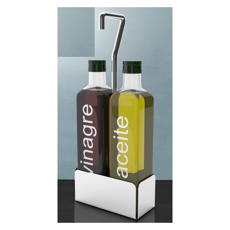 Soporte de 2 cavidades aceitera varilla de 7mm de acero inox. para botella 250 cc. diametro 5cm