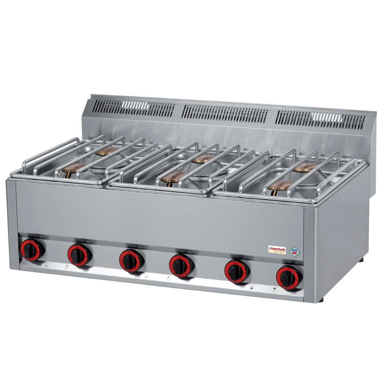 Cocinas serie 600/ cocinas a gas 6 Quemadores 27kw 33kg 990x600x290