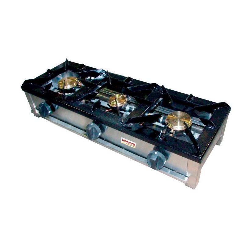 Hornillo a gas 3 fogones 100+80+100 POTENCIA 1x2+2x2,5 1200x400x200