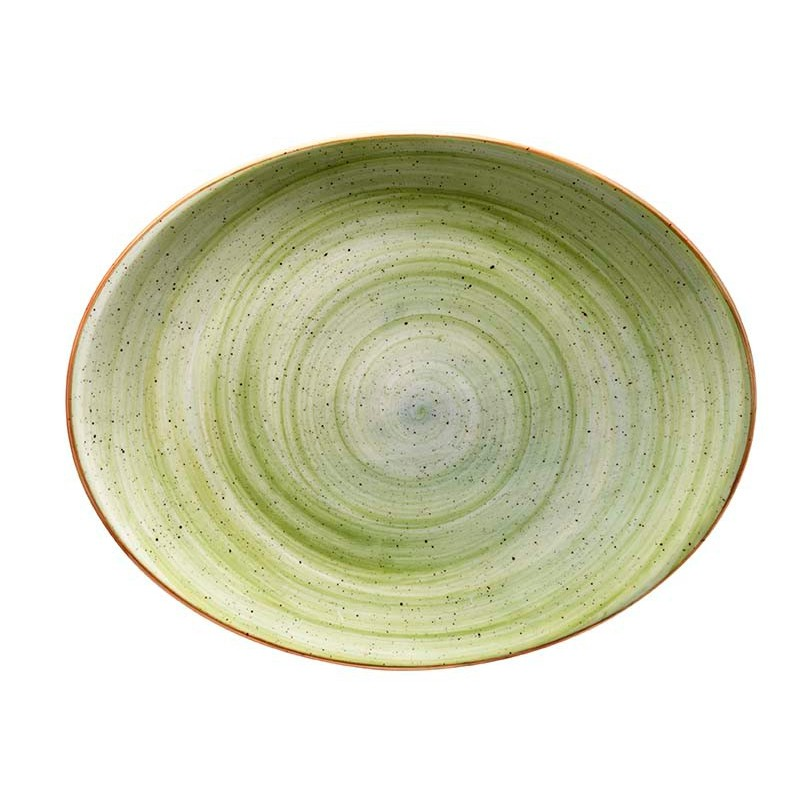 BANDEJA OVAL 31X24 CM THERAPY GREEN