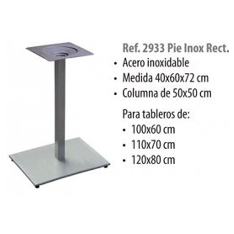 PIE CENTRAL INOX COLUMNA, CRUZ  48X48   40X60X72