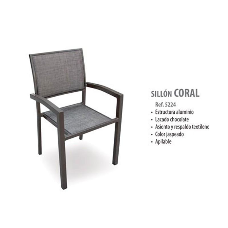 SILLÓN CORAL ALUMINIO CHOCOLATE Y TEXTILENE CHOCOLATE JASPEADO   57X55X89