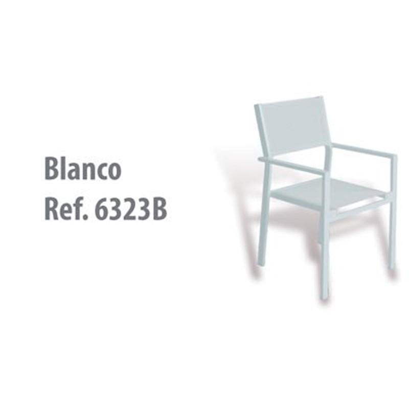 SILLÓN  TAHA  ALUMINIO BLANCO  Y  TEXTILENE BLANCO   57X58X86