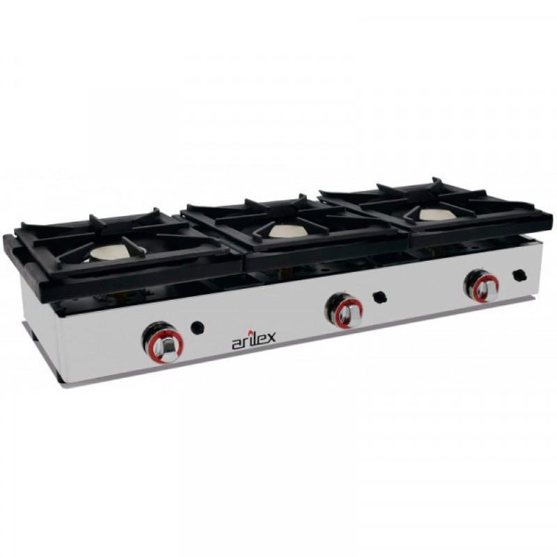Cocina A Gas De 3 Fuegos De 6 + 6 + 6 Kw Con Medidas 1210x457x240h Mm