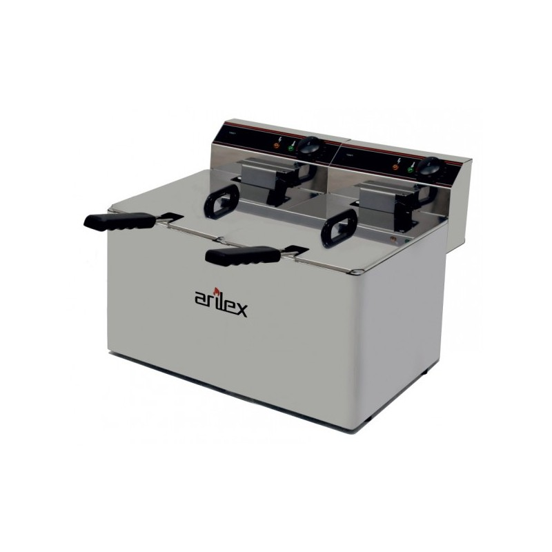 Freidora Eléctrica EVOLUTION Sin Grifo Capacidad 10+10 Litros Con Potencia 3,5+3,5 Kw Monofásica Con Contactor