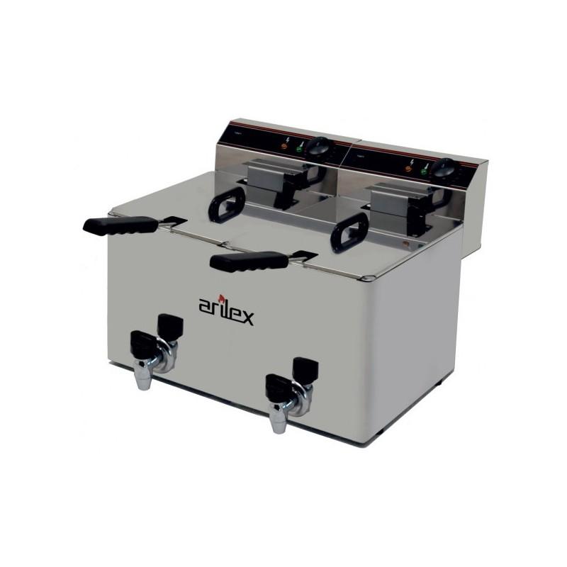 Freidora Eléctrica EVOLUTION Con Grifo Capacidad 10+10 Litros Con Potencia 3,5+3,5 Kw Monofásica Con Contactor