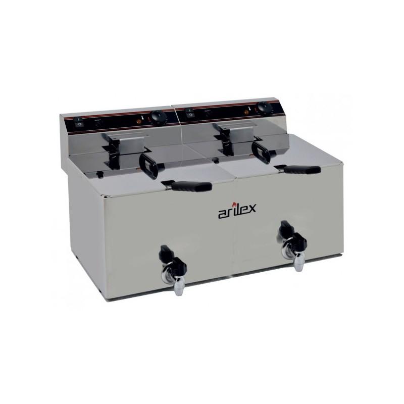Freidora Eléctrica EVOLUTION Con Grifo Capacidad 12+12 Litros Con Potencia 4,5+4,5 Kw Monofásica Con Contactor