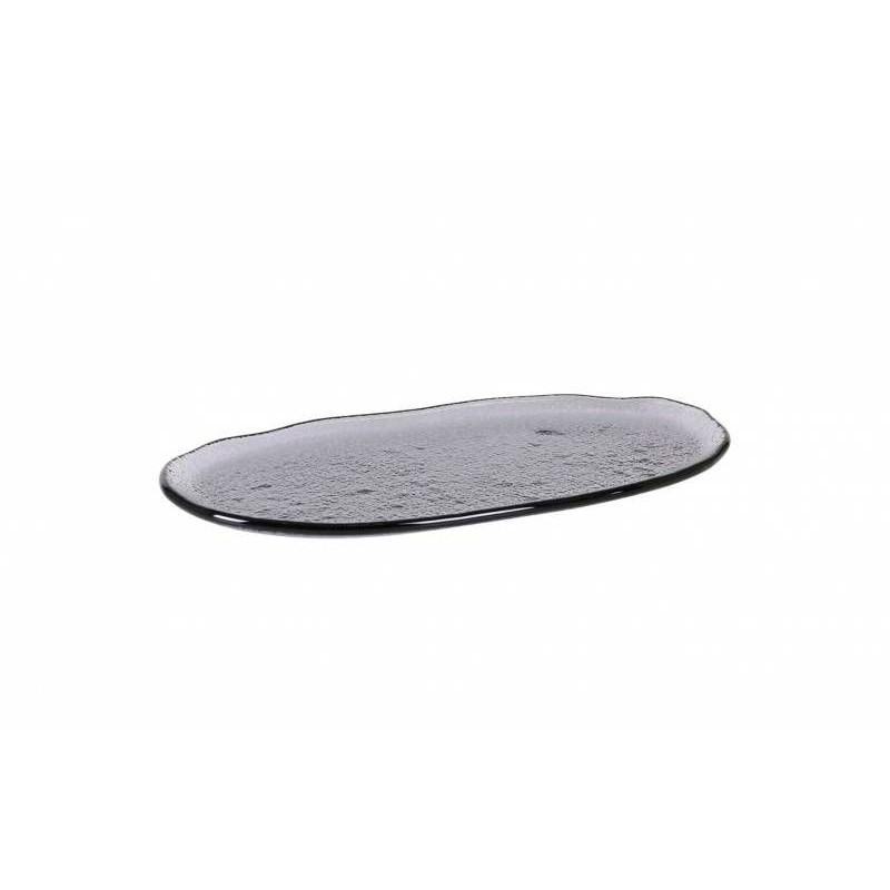 BANDEJA OVAL NEGRA  24x12x1cm (5mm)  12u/c