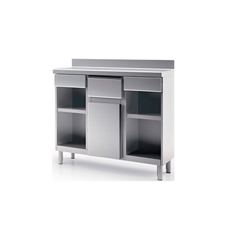 Mueble Cafetero de 1500 x600 x1045h mm con orificio,1 estante y 2 cajón