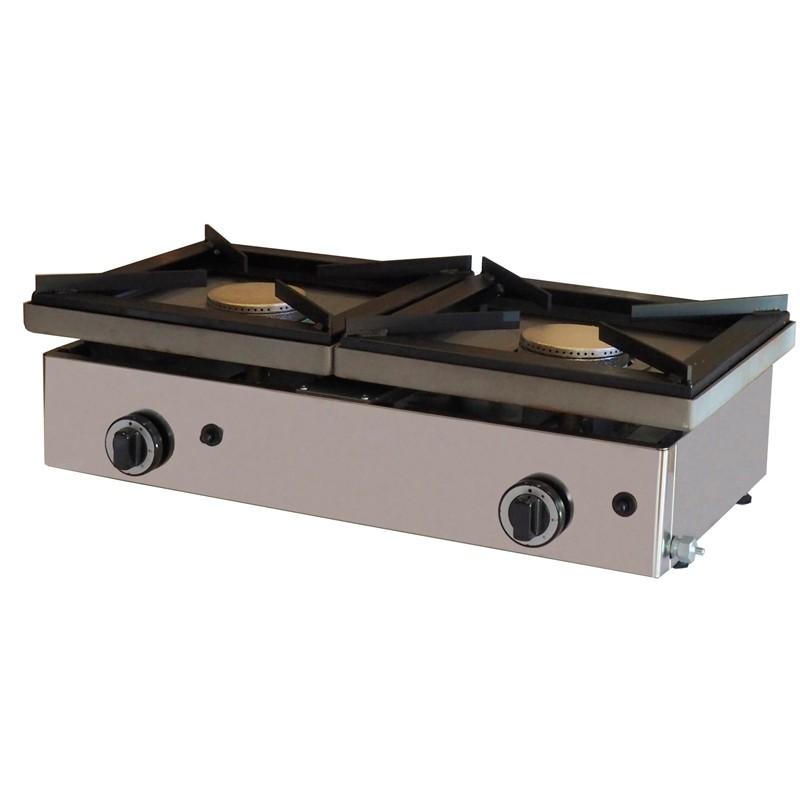 Cocina A Gas De 2 Fuegos De 6 + 6 Kw Con Medidas 810x457x240h Mm